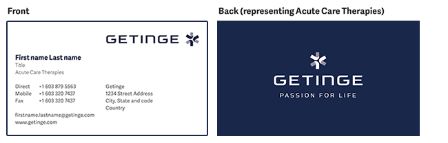getinge business card form